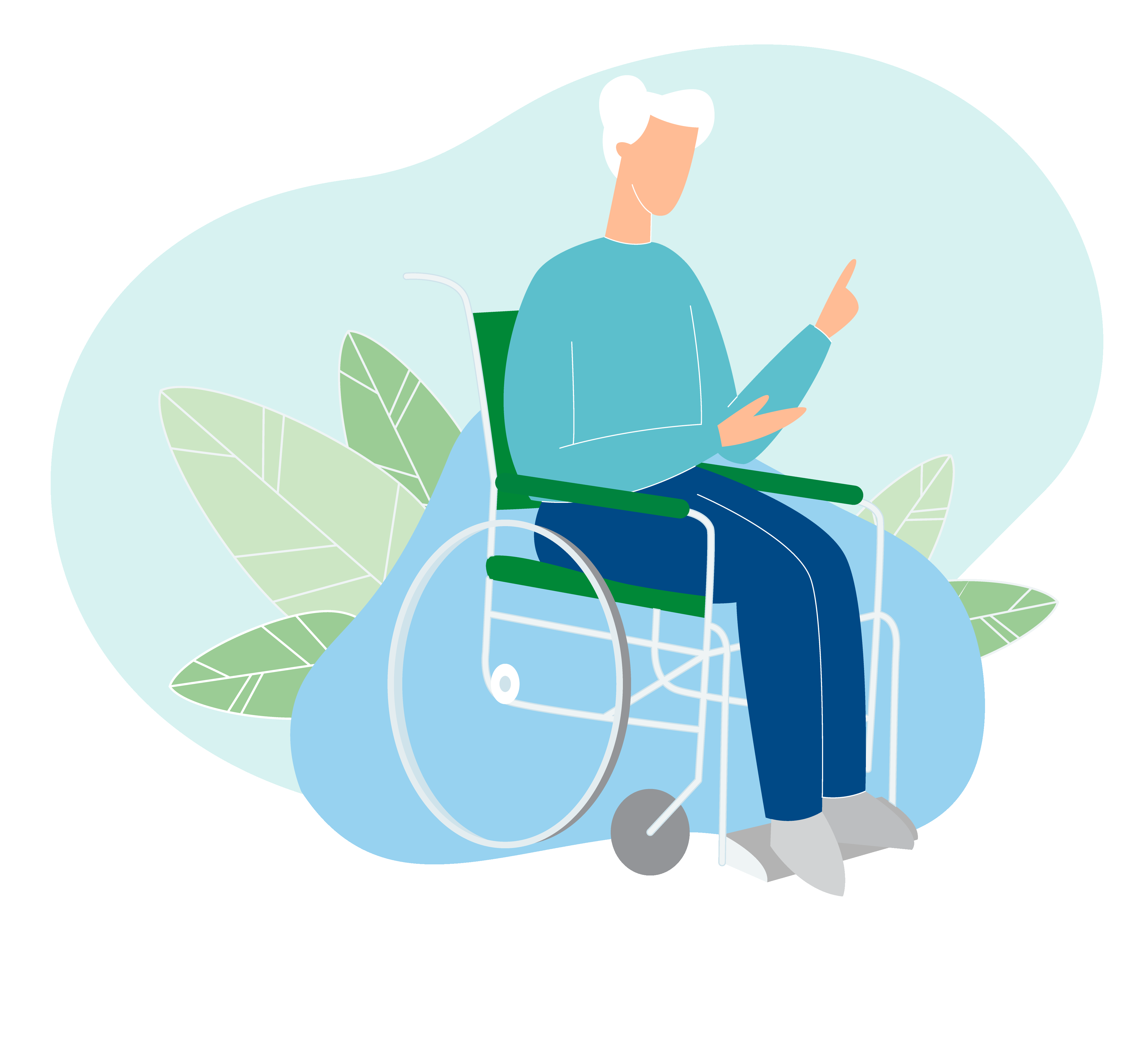 Patient in wheelchair illustration